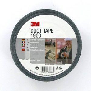 Plakband 3M Duct Tape 1900, zwart, 50mm x 50m